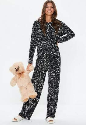 Missguided Black Leopard Long Sleeve Trouser Pyjama Set, Black