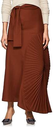 Victoria Beckham Women's Pleated-Inset Wool Canvas Belted Skirt