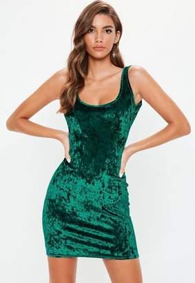 Missguided Green Crushed Velvet Scoop Neck Bodycon Dress