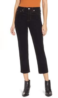 Topshop High Waist Crop Straight Leg Twill Jeans