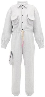 Natasha Zinko Reverse Psychology Print Cotton Blend Jumpsuit - Womens - Grey