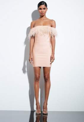 Missguided Nude Bardot Bandage Feather Dress