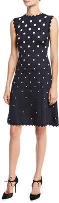 Oscar de la Renta High-Neck Sleeveless Scalloped Fit-and-Flare Polka-Dot Dress