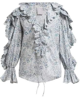 Horror Vacui Celestine Floral Print Cotton Blouse - Womens - Blue Multi