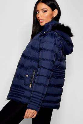 boohoo Padded Jacket With Faux Fur Trim Hood