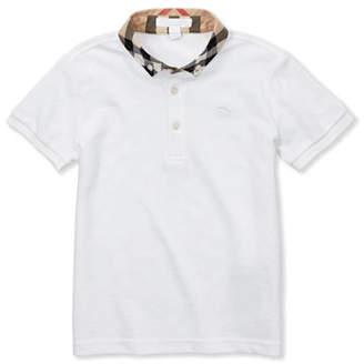 Burberry William Check-Collar Polo, White, 4Y-10Y