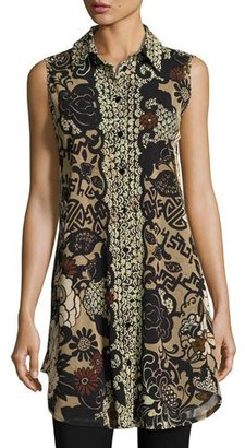 Fuzzi Sleeveless Button-Front Tulle Tunic, Black Pattern $495 thestylecure.com