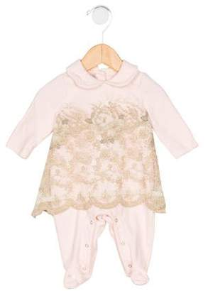 Blumarine Girls' Embroidered Collared All-In-One