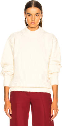 Victoria Beckham Alpaca Sweater with Elbow Patches in Off White | FWRD