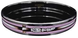 Hermes Silver Tone Hardware & Enamel Cloisonne Pink Belt Bangle Bracelet