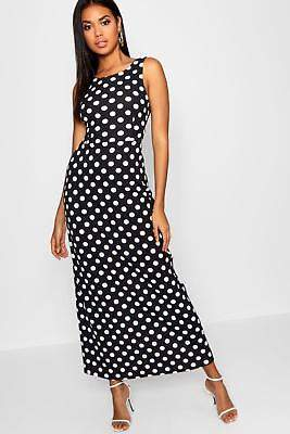 boohoo NEW Womens Knot Back Polka Dot Maxi Dress in Polyester