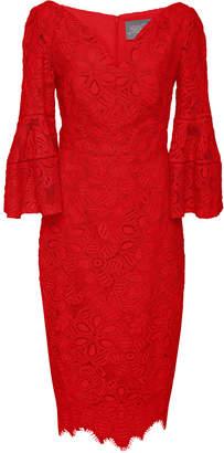 Lela Rose V-Neck Flutter Sleeve Dress