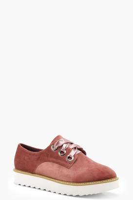 boohoo Lace Up Velvet Cleated Brogues