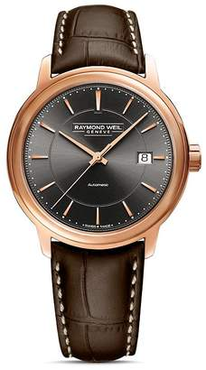 Raymond Weil Maestro Embossed Leather Strap Automatic Watch, 39.5mm