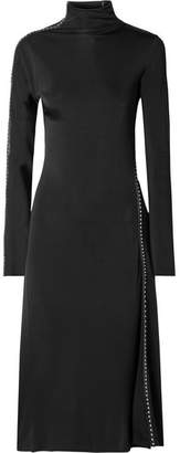 Helmut Lang Studded Faux Leather-trimmed Satin-jersey Midi Dress - Black