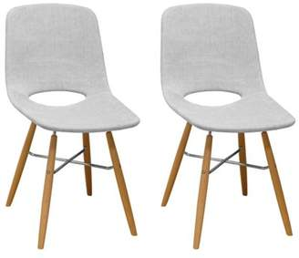 Mod Made Morza Mid Century Modern Armless Dining Side Chair- Set of 2 (Light Grey)