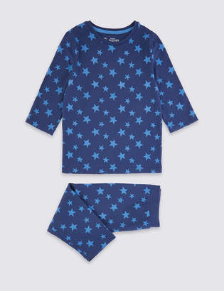 Marks and Spencer Dreamskin Cotton with Stretch Star Print Cropped Pyjamas (1-16 Years)