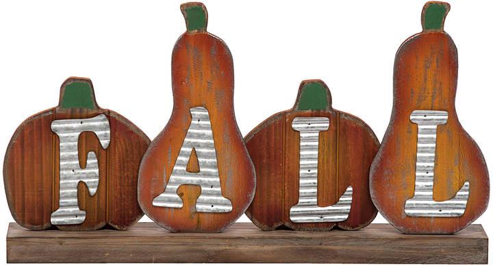 Wood Pumpkin 'Fall' Block Sign