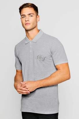 boohoo Short Sleeved BM Logo Pique Polo