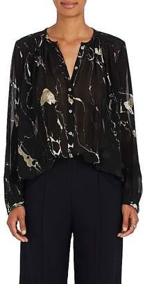 Pas De Calais Women's Lace-Inset Abstract-Print Crepe Blouse