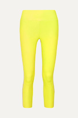 Sprwmn Cropped Striped Leather Leggings - Yellow