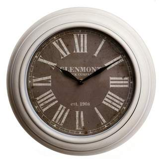 Patton Wall Decor 12 Inch Traditional White Wash Roman Numeral Clock