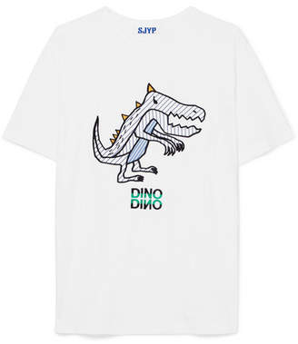 Sjyp Dino Embroidered Poplin-paneled Cotton-jersey T-shirt