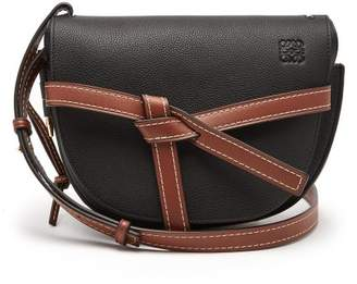 Loewe Gate Small Grained Leather Cross Body Bag - Womens - Black Tan