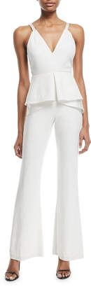 Jonathan Simkhai V-Neck Sleeveless Peplum Flared-Leg Sateen Jumpsuit