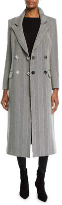 Veronica Beard Kelby Double-Breasted Herringbone Long Coat