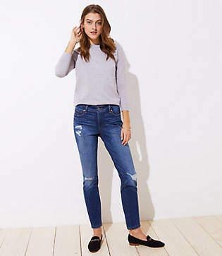 LOFT Petite Modern Destructed Slim Pocket Skinny Jeans in Mid Indigo Wash
