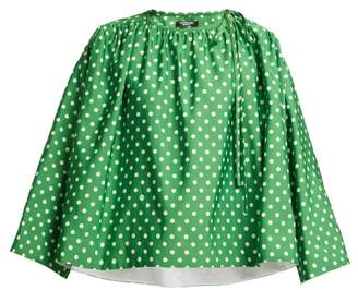Calvin Klein Polka Dot Print Satin Blouse - Womens - Green White