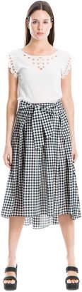 Max Studio bow-front gingham skirt