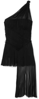 Alexander McQueen One-shoulder Asymmetric Plissé Silk-chiffon Top - Black