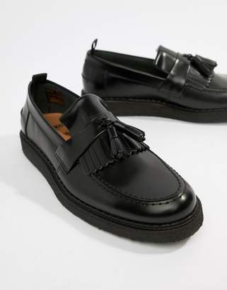 Fred Perry George Cox tassle leather loafers in black
