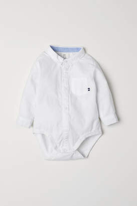 H&M Cotton Shirt-style Bodysuit - White