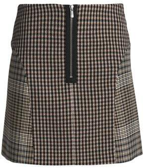 Maje Paneled Checked Cotton-Blend Mini Skirt