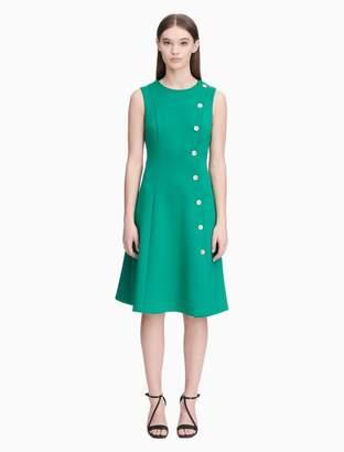 Calvin Klein button side sleeveless a-line dress