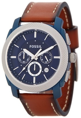 Fossil Men's Machine Chronograph Leather Strap Watch $155 thestylecure.com
