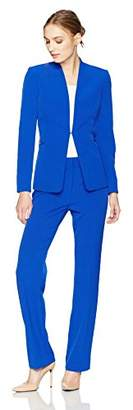 Tahari by Arthur S. Levine Women's Crepe Pant Suit with Hardware at Waist