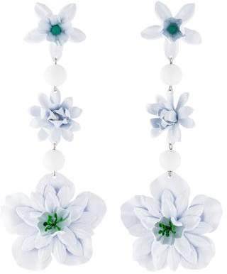Isabel Marant Dyed Quartzite & Vinyl Floral Triple-Drop Earrings