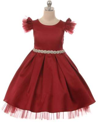 Kids Dream Satin Tulle Sleeve Rhinestone Dress Red