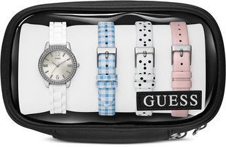 GUESS Women's White Silicone Strap Watch and Interchangeable Leather Straps Set 27mm U0784L1 $135 thestylecure.com