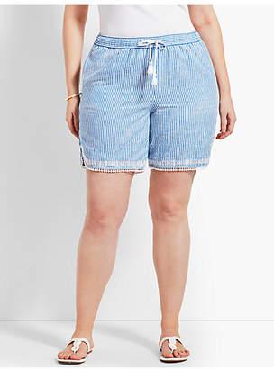 """Talbots Womans Exclusive 7"""" Stripe Linen Short"""