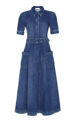 Co Denim Shirt Midi Dress