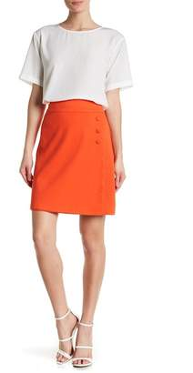 Catherine Malandrino Faux Wrap Solid Mini Skirt
