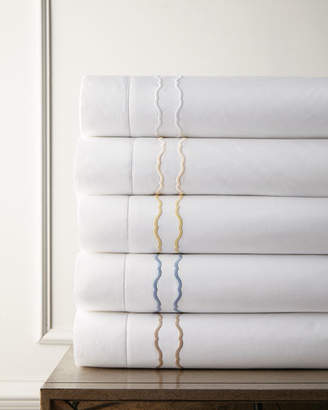 Sferra Full/Queen 406 Thread Count Embroidered Percale Flat Sheet