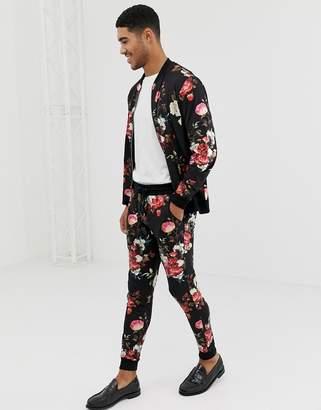 Asos DESIGN tracksuit bomber jacket / skinny sweatpants in metalic floral retro tack