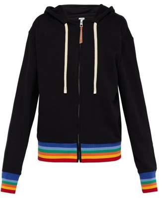 Loewe Rainbow Trim Logo Print Cotton Hooded Sweatshirt - Mens - Black Multi