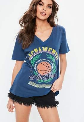 Missguided Blue V Neck Printed T-shirt